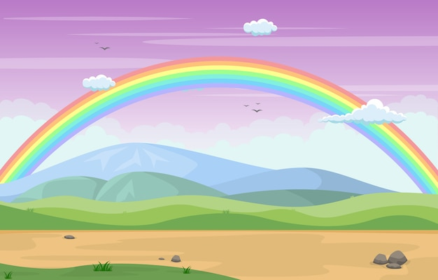 Beautiful rainbow sky with green meadow mountain nature Premium Vector
