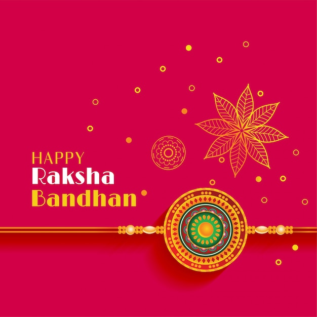 Beautiful raksha bandhan greeting with decorative design Free Vector