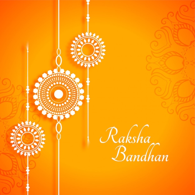 Beautiful raksha bandhan yellow festival indian style background Free Vector