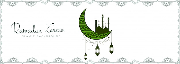 Beautiful  ramadan kareem banner decorative design Free Vector
