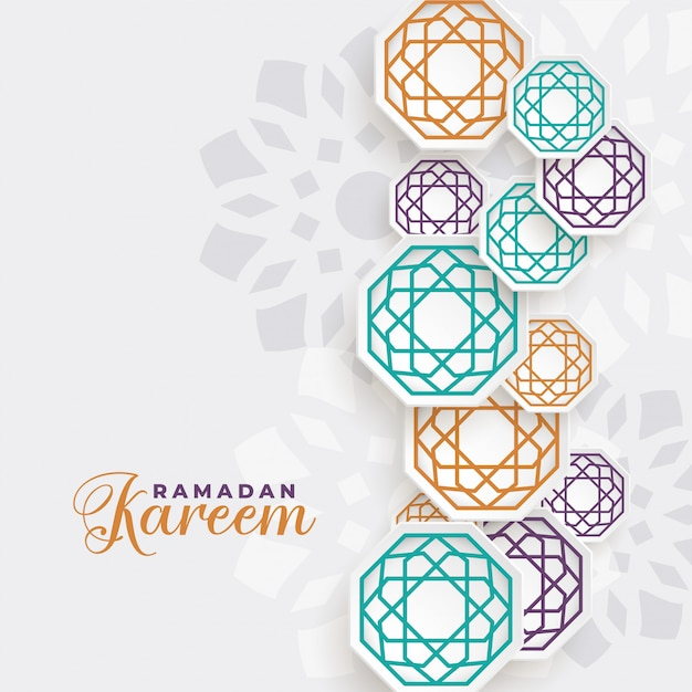 Beautiful ramadan kareem islamic decoration background Free Vector