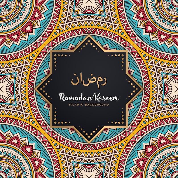Красивая рамадан карим бесшовный фон фон мандалы Premium векторы