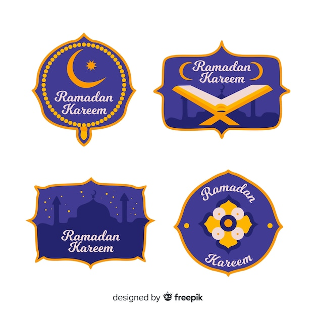 Beautiful ramadan label collection Free Vector