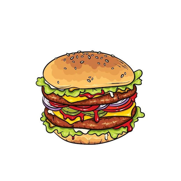 Beautiful realistic cheeseburger.  illustration fast food. Premium Vector