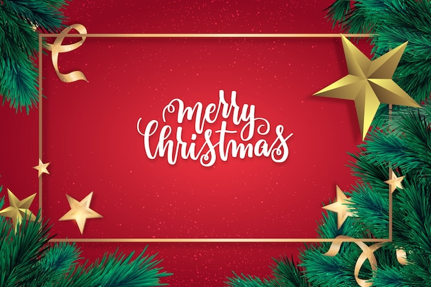 Beautiful realistic christmas background Free Vector