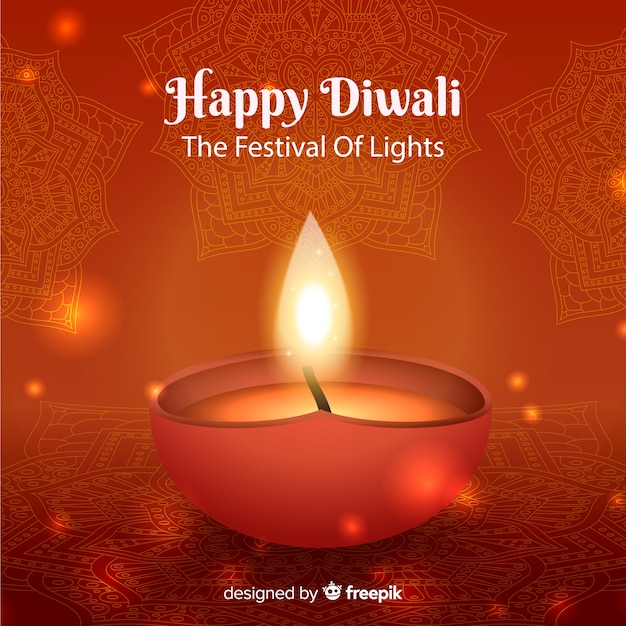 Beautiful realistic diwali background Free Vector