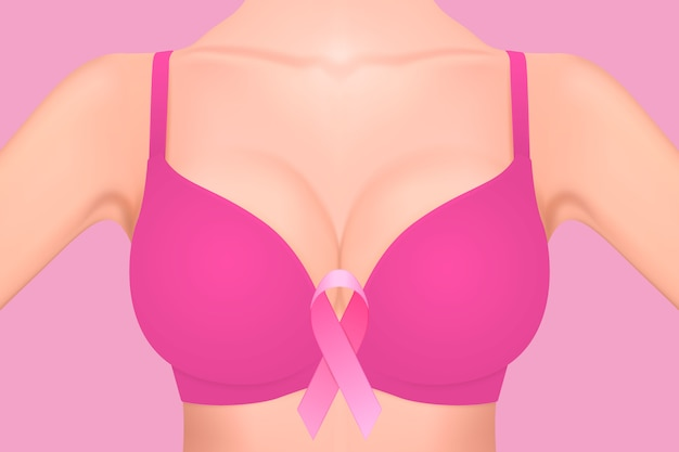Beautiful realistic female breast in pink bra with pink ribbon close-up on pink background. breast cancer awareness concept. Premium Vector