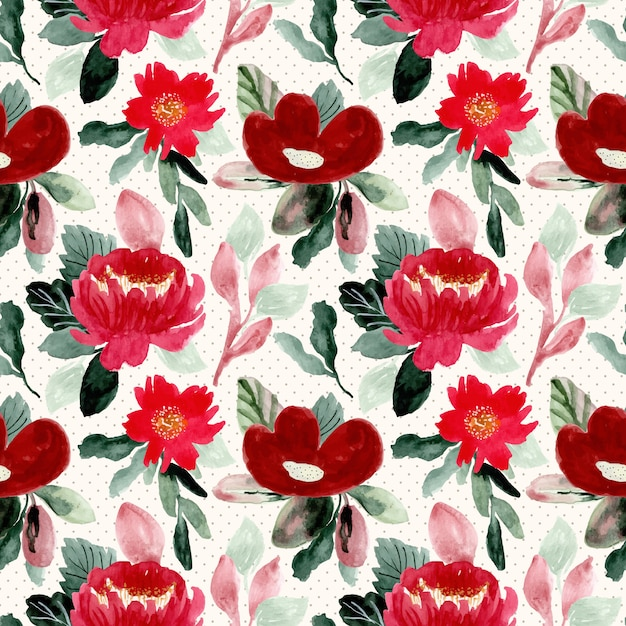 Beautiful red flower watercolor seamless pattern Premium Vector