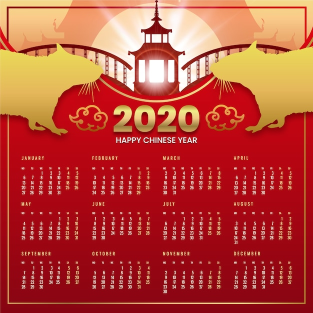 Beautiful red & golden chinese new year calendar Free Vector