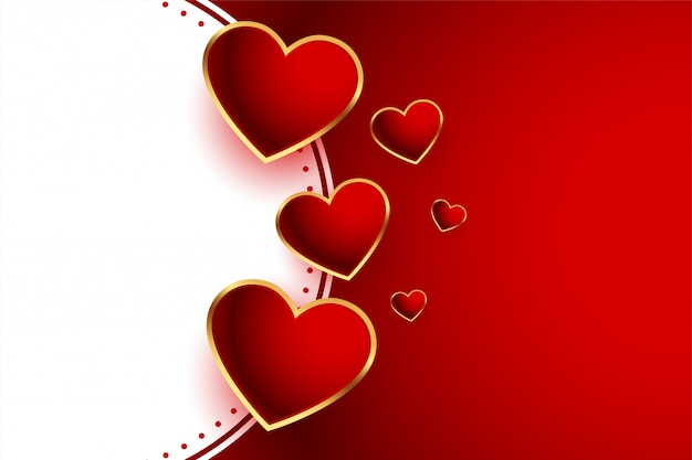 Beautiful red hearts valentines day background Free Vector
