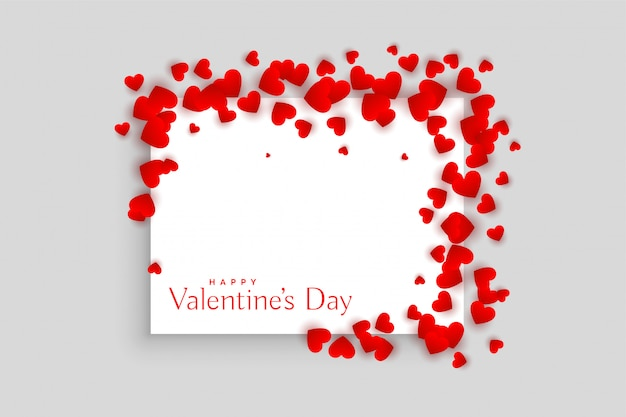 Beautiful red hearts valentines day frame design Free Vector