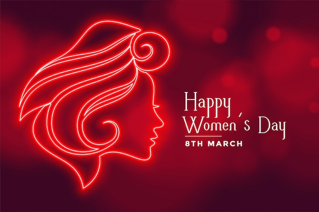 Beautiful red lady face for happy womens day greeting card Free Vector