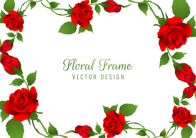 Free Vector Beautiful Red Rose Flower Frame Background