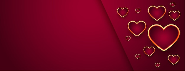 Beautiful red valentines day banner with golden hearts Free Vector