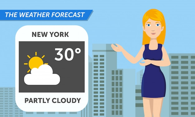 Beautiful reporter are announce the weather Premium Vector