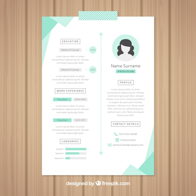 Beautiful Resume Template Free Vector