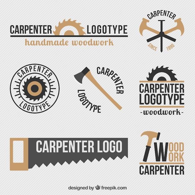 Красивые ретро логотипы набор плотницких Premium векторы