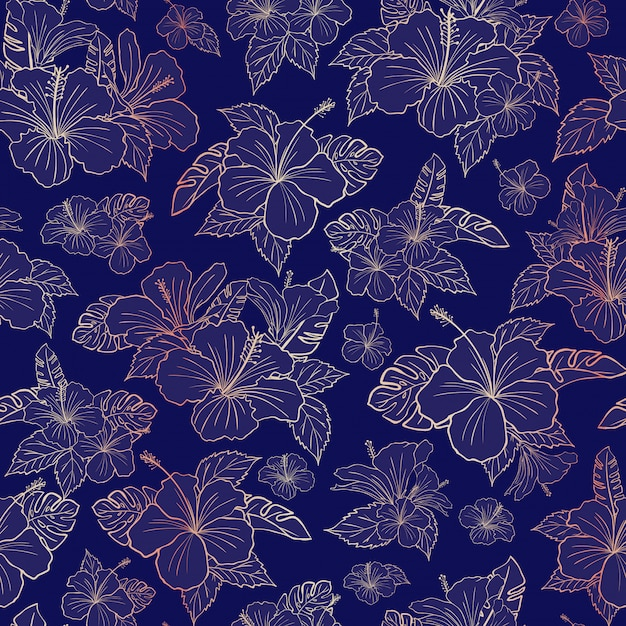 Beautiful rose gold hibiscus floral pattern Premium Vector