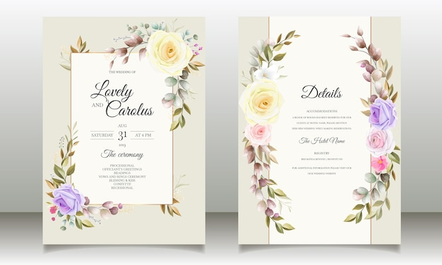아름다운 장미 꽃 초대 카드 템플릿 디자인 무료 벡터