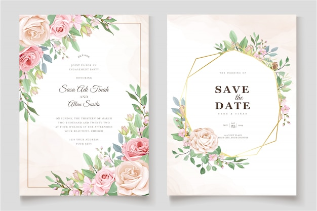 Beautiful roses invitation card template Free Vector