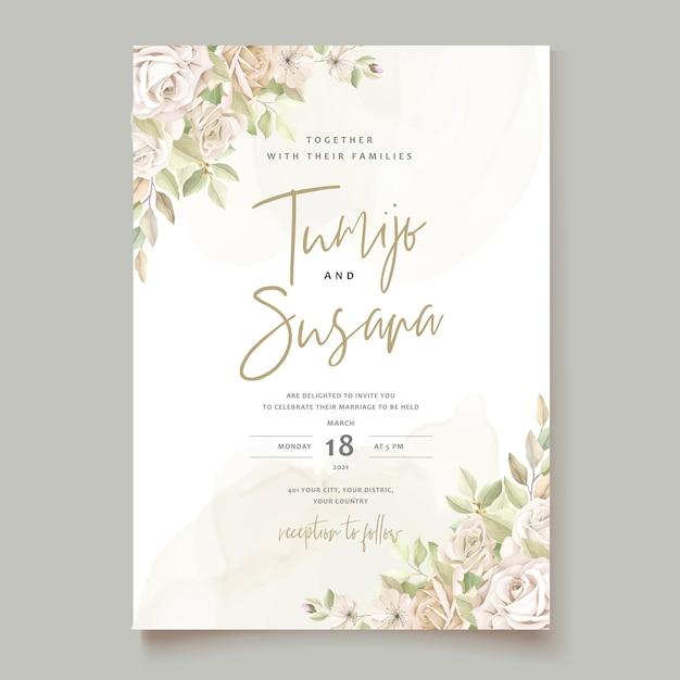 Modello di carta di invito bellissime rose Vettore gratuito