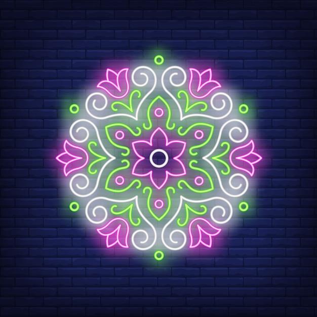 Beautiful round floral mandala neon sign Free Vector