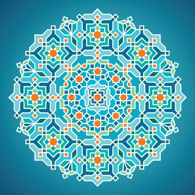 Beautiful round vector geometric arabic background ornament for greeting business card template Premium Vector