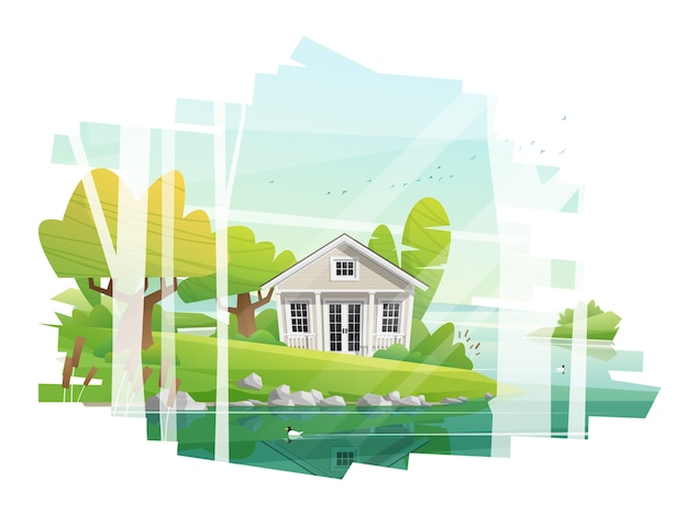 Beautiful rural landscape and a small house background Premium Vector
