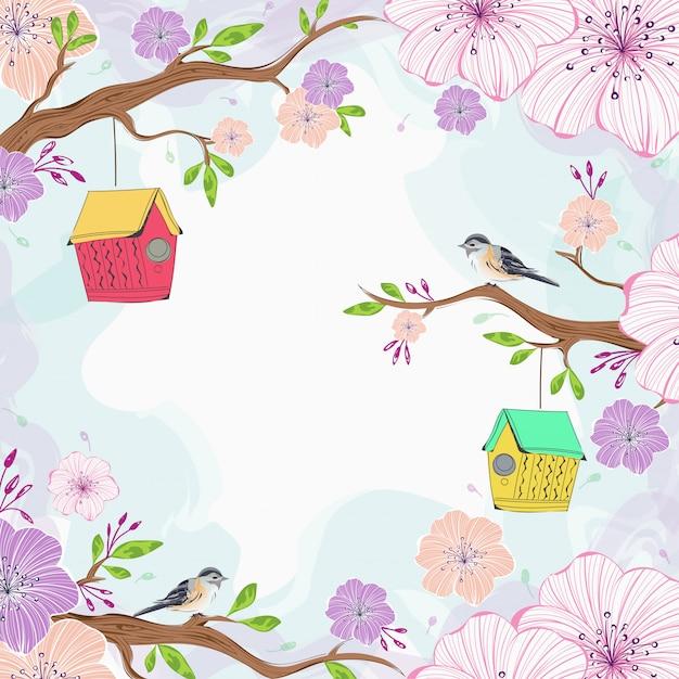 Beautiful sakura flowers branch Premium Vector
