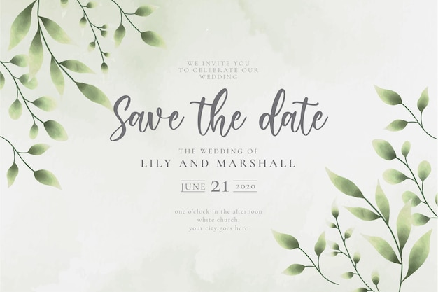 Beautiful save the date wedding background with watercolor leaves Free Vector