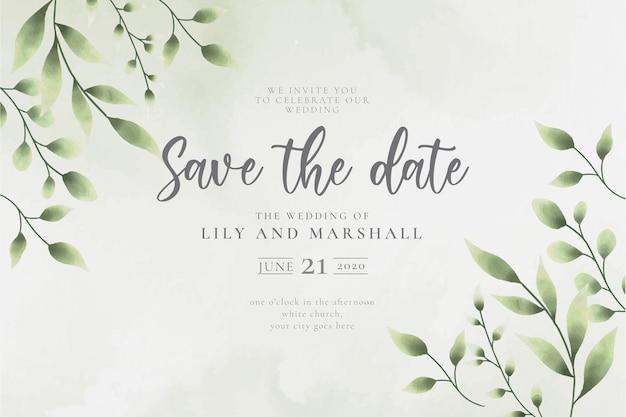 아름다운 수채화 잎 날짜 결혼식 배경 저장 무료 벡터