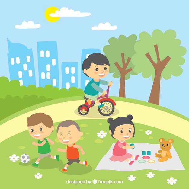 Beautiful scene of children playing outdoors Free Vector