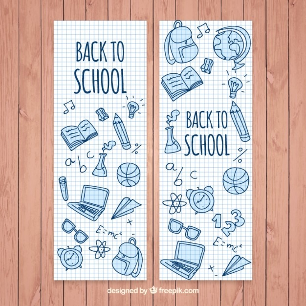 Beautiful school banners with hand drawn elements Free Vector