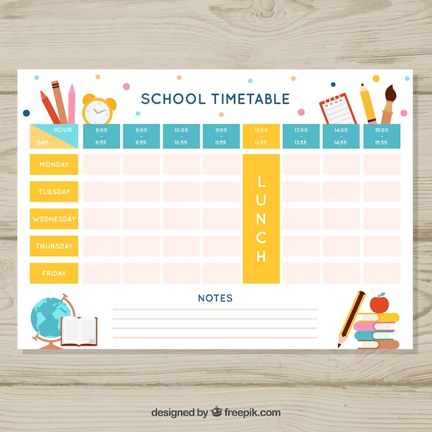 School Timetable Template With School Objects Vector  Free Download