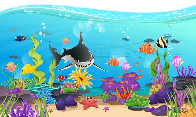 Beautiful sea with coral, reef, and fish Premium Vector