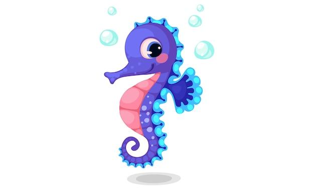 Beautiful seahorse cartoon vector illustration Free Vector