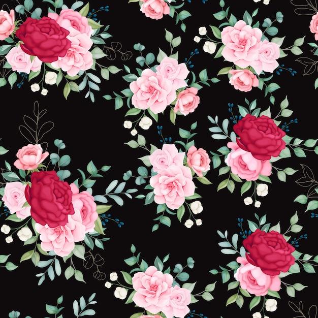 花が咲く美しいシームレスパターン 無料ベクター