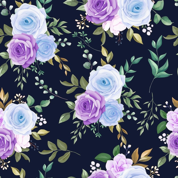Beautiful seamless pattern blue flower and green leaves Free Vector