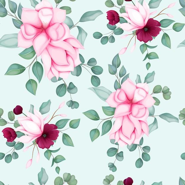 Красивый бесшовный цветочный узор Бесплатные векторы