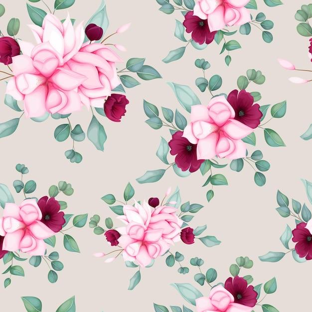 아름 다운 완벽 한 패턴 꽃 디자인 무료 벡터