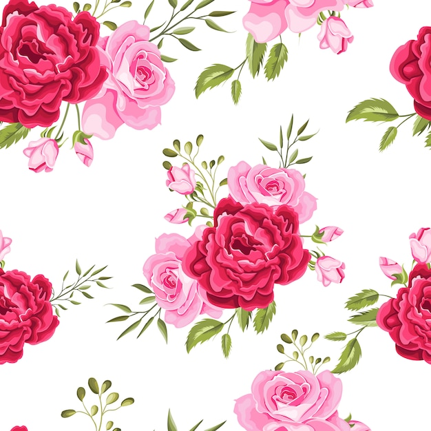 Beautiful seamless pattern flowers and leaves Premium Vector