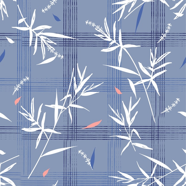 Beautiful seamless pattern with bamboo leaves on hand drawn grid check Premium Vector
