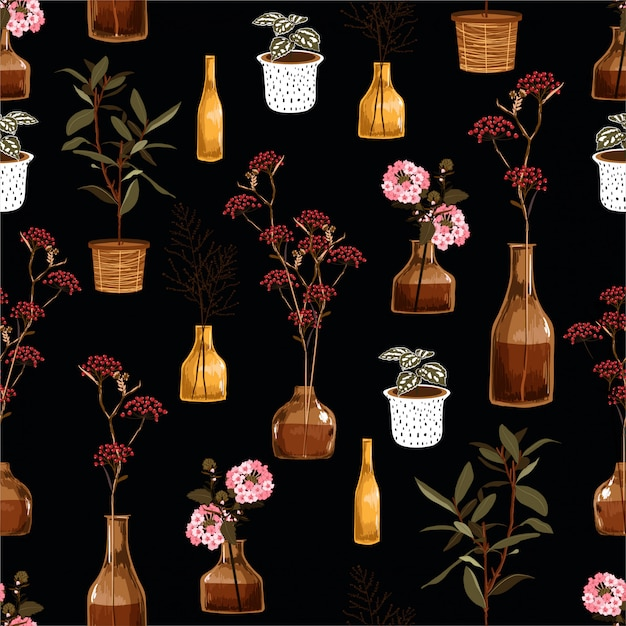 Beautiful seamless pattern with creative decorative flowers in vase, botanical in pot, in vector deign for fashion, fabric, wallpaper, wrapping and all prints Premium Vector