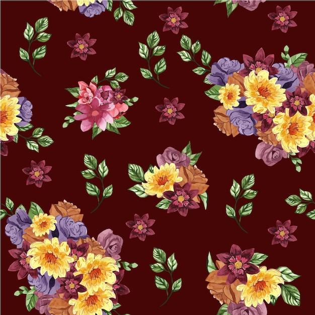 꽃과 잎이 빨간색 배경에 아름 다운 완벽 한 패턴 프리미엄 벡터