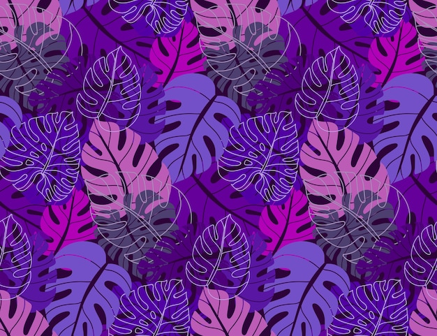 Beautiful seamless pattern with ropical jungle palm monstera leaves Premium Vector