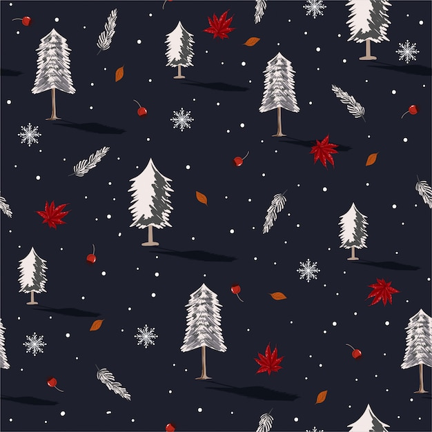 Beautiful seamless repeating pattern with christmas trees with snow flake Premium Vector