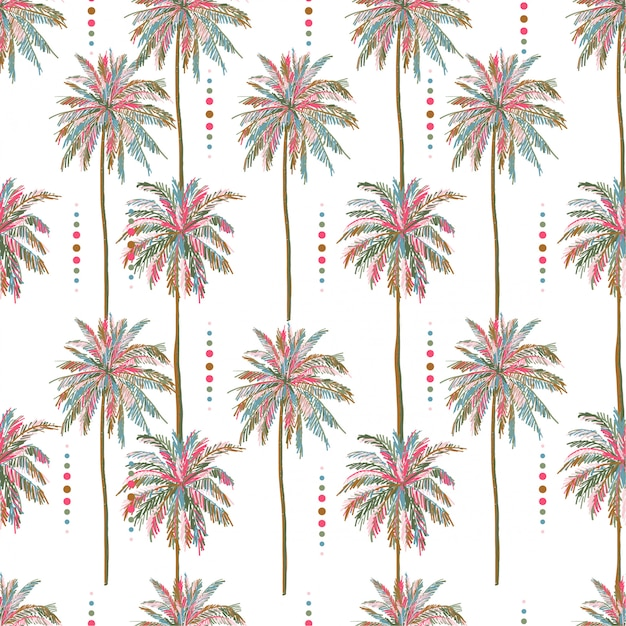 Beautiful seamless vector summer colorful palm tree pattern Premium Vector