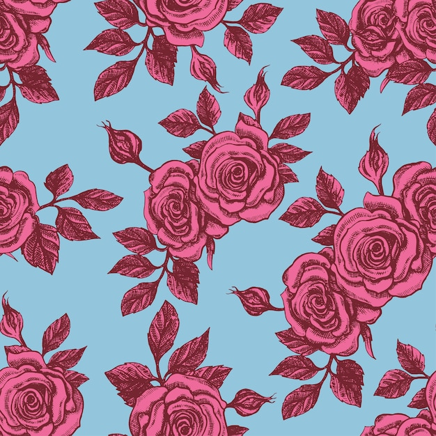 Beautiful seamless vintage blue background with pink roses Premium Vector
