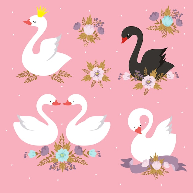 Beautiful set characters of white princess swan with crown. Premium Vector