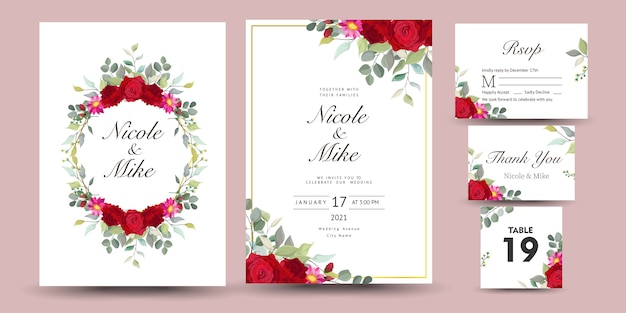 Beautiful set of decorative greeting card or invitation with floral design Premium Vector